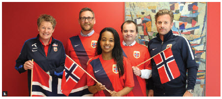 The Norwegian embassy fully supported its Women's World Cup team. From left, Heidi Støre, director of Women's football, Jan-Terje Storaas, cultural affairs officer at the embassy, embassy intern Maria Melstveit, first secretary Øystein Bell and Jan Ove Nystuen, who looks after marketing for Norway's women's football. (Photo: Jennifer Campbell)