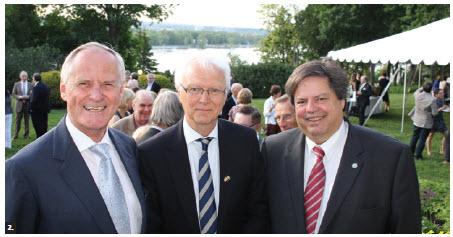 Swedish Ambassador Per Ola Sjogren hosted a national day reception. From left, Austrian Ambassador Arno Riedel, Sjogren and MP Mauril Bélanger. (Photo: Ulle Baum)