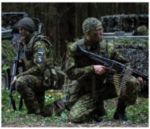 Estonian army scouts from the 1st Battalion practise their defensive manoeuvres during Exercise SIIL/Steadfast Javelin in May 2015.