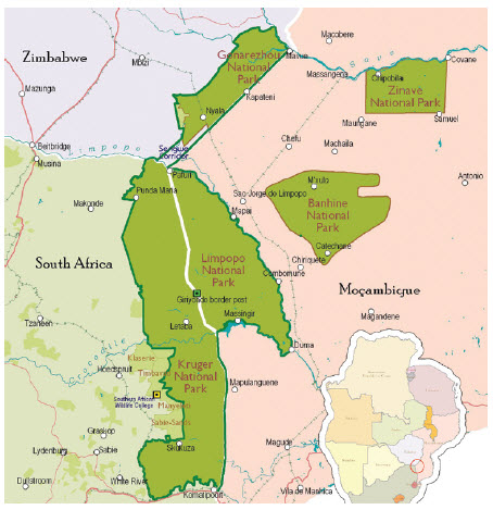 Kruger National Park is in South Africa, but also has borders with Mozambique and Zimbabwe.