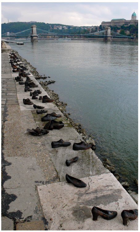 A Holocaust Shoe Memorial along the Danube in Budapest, Hungary.