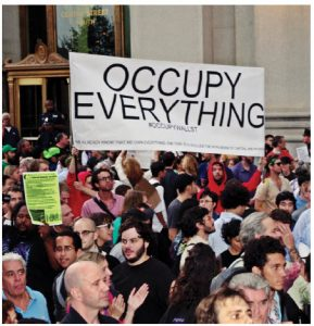 Author David Boaz notes that in the immediate aftermath of 2008, one saw identical banners, with identical mottoes, at Tea Party event and Occupy Wall Street events, such as the one pictured here.
