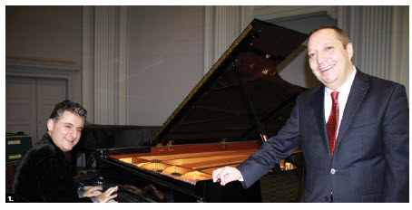 Georgian Ambassador Alexander Latsabidze, right, hosted a classical piano recital by renowned Georgian musician Edisher Savitski, left, as well as an exhibition titled Three Types of Georgian Scripts at the University of Ottawa's Tabaret Hall. (Photo: Ülle Baum)