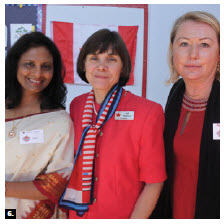 The International Women's Club of Ottawa held its annual September tea at Orleans United Church. From left, Neelam Prakash (India), IWCO president Lia Mazzolin and Penny Tucker (New Zealand). (Photo: Helen Souter)