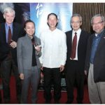 The Taipei Economic and Cultural Office (TECO), in collaboration with the National Arts Centre, presented Taiwan's famous Sword of Wisdom U-Theatre. From left, Simon Sung, executive director of information division at TECO; former MP David Kilgour; performer Li Sha Niu; music director Chih-Chun Huang; Frank Lin, acting representative at TECO, and Senator Thanh Hai Ngo. (Photo: Sam Garcia)