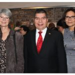 Carla Gómez de Barrientos (Venezuela embassy), Juliana McDonald, Venezuelan Ambassador Wilmer Omar Barrientos Fernandez, organizer Lilia Faulkner and Marta Borkowska (Polish embassy) at the Latin American Art Exhibition 2015. (Photo: Lois Siegel). NOTE: Diplomat miscredited a photo of a Netherlands event in the October issue. The photo was taken by Ülle Baum.