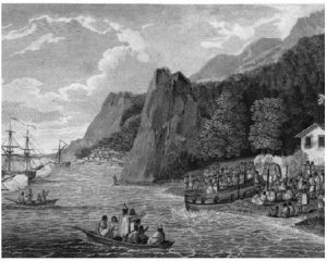 The launch of the North-West America at Nootka Sound, 1788. (Photo: John Meares)