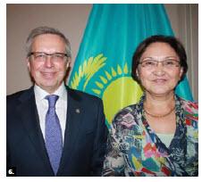Kazakhstani Ambassador Konstantin Zhigalov and his wife, Indira Zhigalova, hosted a reception at the Fairmont Château Laurier. (Photo: Ülle Baum)