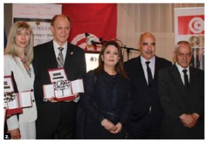 To mark the visit of the recipients of the Nobel Peace Prize of 2015, Tunisian Ambassador Riadh Essid and his wife, Chiraz, hosted a reception at the Château Cartier. From left: The Essids, Ouided Bouchamamoui, Abdessatar Ben Moussa and Houcine Abassi.