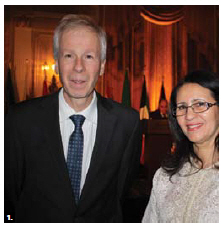 The Council of Arab League Ambassadors, in partnership with the Canadian Arab Business Council, hosted a gala dinner and awards ceremony at the Château Laurier. From left, Foreign Minister Stéphane Dion and Moroccan Ambassador Nouzha Chekrouni. (Photo: Ülle Baum)