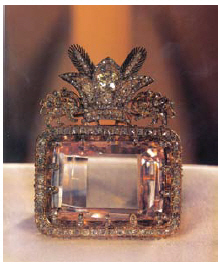 The Darya-e Noor (Sea of Light) diamond, from the collection of the national jewels of Iran, is stored at Iran's Central Bank. (Photo: George hayter/ wiki)