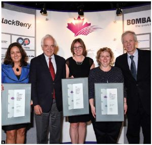 The Professional Association of Foreign Service Officers held its annual awards evening at the Shaw Centre. From left, recipient Mona Yacoub, Citizenship Minister John McCallum, recipients Jacqueline Kalisz and Brigitte Fournier and Foreign Minister Stéphane Dion. (Photo: Gordon King)
