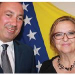 Bosnia and Herzegovina's foreign minister, Igor Crnadak, visited Canada this summer. He's shown with Ambassador Koviljka Spiric.