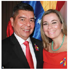 Venezuelan Ambassador Wilmer Omar Barrientos Fernandez and his wife, Carla Josefina Gomez De Barrientos, hosted a reception to mark the 205th Anniversary of the Declaration of Independence of Venezuela and the Day of the Bolivarian National Armed Forces. (Photo: Ülle Baum)