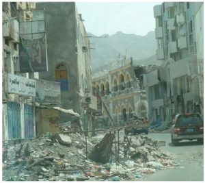 Destroyed houses in the Crater district of Aden, following shelling by retreating al-Houthi fighters.