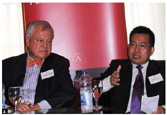 The China Institute at University of Alberta, in partnership with the Chinese People's Institute of Foreign Affairs, held a senior policy forum on Canada-China Relations at the Château Laurier. From left, Marius Grinius, fellow at the Canadian Global Affairs Institute and former Canadian ambassador to South Korea, and Ruan Zongze, executive vice-president and senior fellow at the China Institute for International Studies. (Photo by Ülle Baum)