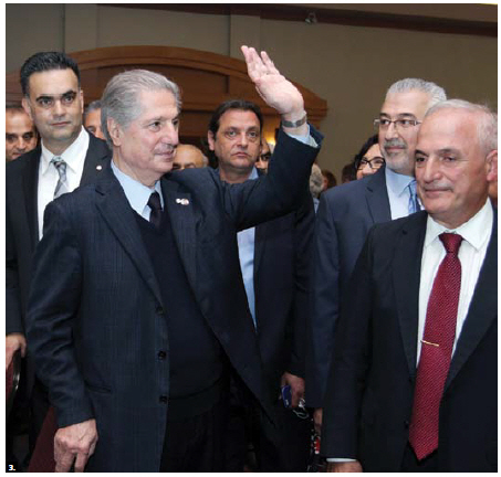 Amine Pierre Gemayel, former president of Lebanon, attended a dinner at St. Elias Centre in his honour. Here, he greets the Lebanese community as he is welcomed at the event. (Photo: Sam Garcia)