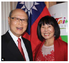 Chung-chen Kung, head of mission at the Taipei Economic and Cultural Office and his wife, Triffie Kung, hosted a reception in celebration of the 105th National Day of Taiwan at the Château Laurier. (Photo by Ülle Baum)