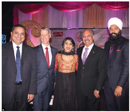 The Bollywood Bash Gala, organized by the Indo-Canada Ottawa Business Chamber, took place at the Shaw Centre. From left: Ravinder Tumber, business owner and director of the Orléans Chamber of Commerce; MP Andrew Leslie, chief government whip; Small Business and Tourism Minister Bardish Chagger; MP Jati Sidhu and MP Randeep Sarai. (Photo: Ülle Baum)