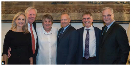 The French Embassy hosted a thank-you reception for sponsors of the Ottawa Hospital Gala. From left, event co-chairs Whitney Fox and Greg Kane; hostess Sylvie Camia Chapuis; Tim Kluke, president and CEO of The Ottawa Hospital Foundation; Dr. Duncan Stewart, the hospital's vice-president research; and hospital president and CEO Jack Kitts. (Photo: Kara Taylor)