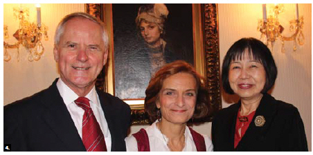 Austrian Ambassador Arno Riedel and his wife, Loretta Loria-Riedel, hosted a reception at their residence to mark Austria's national day and bid farewell. They are shown with Etsuko Monji, wife of the Japanese ambassador. (Photo: Ülle Baum)
