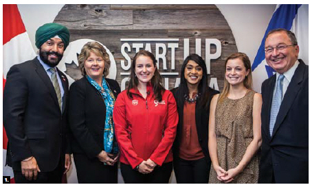 The winners of the StartUp Tel Aviv contest were announced at Startup Canada's headquarters. From left, Innovation, Science and Economic Development Minister Navdeep Bains, Brenda Halloran, chairwoman of the board of Startup Canada; winner Andrea Palmer, CEO of Awake Labs; Small Business and Tourism Minister Bardish Chagger; Kathryn Forrest, communications manager at Startup Canada; and Israeli Ambassador Rafael Barak. (Photo: Cyprian Szalankiewicz)