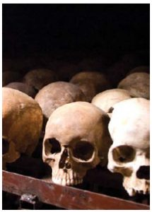 Genocide victims' skulls at the Nyamata Memorial Site in Rwanda. (Photo: Fanny Schertzer)