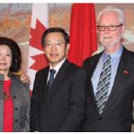 The Chinese Embassy hosted a reception for the Canada-China Friendship Society of Ottawa in celebration of the society's 40th anniversary. The event included dinner and a short film presentation. From left, Luna Yap, founding member CCFSO, Lolan Merklinger, past president, CCFSO; Wang Wentian, China's chargé d'affaires, Roy Atkinson, co-president of CCFSO, and Lv Yongjiu, wife of the minister-counsellor for culture at the embassy of China. (Photo: by Ülle Baum)