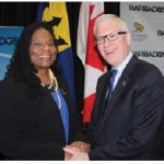 Barbadian High Commissioner Yvonne Walkes, left, hosted a reception at City Hall to mark the 50th anniversary of the independence of Barbados. Roy Norton, Chief of Protocol of Canada attended. (Photo: Ülle Baum)