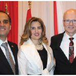Sami Haddad, counsellor and chargé d'affaires for Lebanon, and his wife, Nadia, hosted a national day reception at the St. Elias Centre. Geoff Regan, Speaker of the House of Commons, right, attended. (Photo: Ülle Baum)