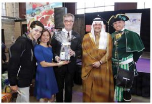 Event goers from left, Daniel Fonseca Cerrato, son of Honduran Ambassador Sofia Cerrato, Ambassador Cerrato, Mayor Jim Watson, Saudi Ambassador Naif Bandir A. Al Sudairy and town crier Daniel Richer. (Photo: Sam Garcia)