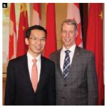 The Chinese embassy hosted a welcoming reception in honour of newly arrived Chinese Ambassador Lu Shaye. From left, the ambassador stands with MP Andrew Leslie, parliamentary secretary to the foreign minister. (Photo: Ülle Baum)