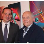 Slovakian Ambassador Andrej Droba, hosted a reception at the embassy for the opening of an exhibition by Slovakian artist Leo Symon, right. It is open until July 6. (Photo: Ülle Baum)