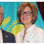 Kazakh Ambassador Constantin Zhigalov hosted a concert by Kazakh violinist Aiman Mussakhajayeva to mark 25 years of Canada -Kazakhstan relations. He's shown with Pamela Goldsmith-Jones, parliamentary secretary for international trade. (Photo: Ülle Baum)