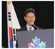 Korean Ambassador Maeng-ho Shin delivered opening remarks at the Korean Culture Fair at Lansdowne Park's Horticulture Building. The event was organized by the Korean Cultural Centre in association with the embassy in celebration of Canada's 150th birthday. (Photo: Ülle Baum)