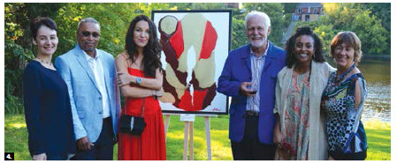 A vernissage featuring several artists took place at the home of former ambassador Gabriel Lessard and his wife, Corinne Paollilo-Lessard. From left, Naira Velumyan, Alexey Klokov's agent; Madagascar Ambassador Constant Horace; Katia Paccagnini; Lessard; Mona Horace and Paollilo-Lessard. (Photo: Patrick Hollier)