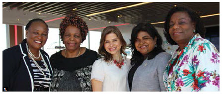 The Ottawa Diplomatic Association AGM took place at the Westin. From left: South African High Commissioner Sibongiseni Dlamini-Mntambo, Zimbabwean Ambassador Florence Chideya, Honduran Ambassador Sofia Cerrato Rodriguez, Jamaican High Commissioner Janice Miller and Barbadian High Commissioner Yvonne Walkes. (Photo: Ülle Baum)