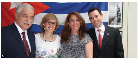 Cuban Ambassador Julio Garmendia hosted a farewell for minister-counsellor Deborah Ojeda. From left: Garmendia, Ojeda, consul Mailin Garcia and her husband Abel Colin. (Photo: Ülle Baum)