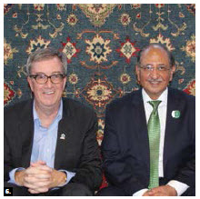 A Pakistani showcase took place at Lansdowne Park. Here, Mayor Jim Watson, left, and High Commissioner Tariq Azim Khan sit on a Pakistani rug. (Photo: Ülle Baum)