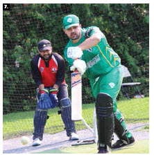 Player Hassan Qamar at a Cricket Cup match between the Toronto Pakistan XI and Ottawa Canada XI teams. (Photo: Ülle Baum)