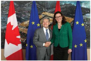 Canada's International Trade Minister François-Philippe Champagne shakes hands with European Union Trade Commissioner Cecilia Malmstroem prior to a meeting in March 2017 in Ottawa. CETA was provisionally implemented in September 2017, but several European parliaments must still ratify it. (Photo: © European Union , 2017   /  Source: EC - Audiovisual Service)