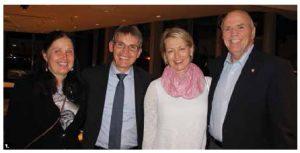 Finnish Ambassador Vesa Lehtonen and his wife, Pirjetta Manninen, hosted a reception after the Lapland Chamber Orchestra performed at the National Arts Centre. From left: Manninen, Lehtonen, Sari Musta-White and Senator Vernon White. (Photo: Ülle Baum)