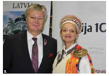 Latvian Ambassador Karlis Eihenbaums and his wife, Inara Eihenbauma, hosted a 99th independence day reception at Ottawa City Hall. (Photo: Ülle Baum)
