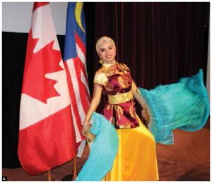 To commemorate the 60th Anniversary of Malaysia-Canada relations, Malaysian High Commissioner Aminahtun Binti Hj A Karim, and her husband, A.G. Shaharudin, hosted a Taste of Malaysia event at Cadieux Auditorium, Global Affairs Canada. Dancer Isfarisha Sakina, of Singapore's Sri Warisan group, performed. (Photo: Ülle Baum)