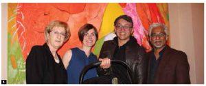 An exhibit of works by artist Mirana Zuger was presented at the embassy of Croatia. From left: Croatian Ambassador Marica Matkovic; Zuger; her husband, Alejandro Salgado Cendales; and Sanjeev Sivarulrasa, director of the Sivarulrasa Gallery. (Photo: Ülle Baum)