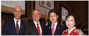 To mark Korea's national and armed forces days, Ambassador Shin Maengho and his wife, Lee Dongmin, with Senator Yonah Martin, hosted a reception. From left: Michael Wernick, clerk of the Privy Council; Senator Joseph A. Day; Shin and Lee. (Photo: Ülle Baum)