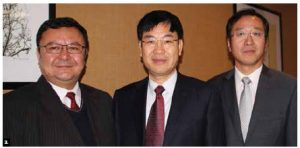 A cultural exchange delegation from Xinjiiang, China, held a round table at the Courtyard Marriott Hotel. From left: Alimujiang Yasheng, deputy director of the Xinjiang Autonomous Region Development and Reform Commission; Zuo Feng, deputy director general of the state council information office; and Yang Yundong, counsellor at the Chinese Embassy. (Photo: Ülle Baum)