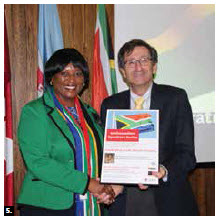 South African High Commissioner Sibongiseni Dlamini-Mntambo, left, presented a lecture at Carleton University's Norman Paterson School of International Affairs' Ambassadors Speaker Series. She's shown with André Plourde, dean of Carleton's public affairs faculty. (Photo: Ülle Baum)