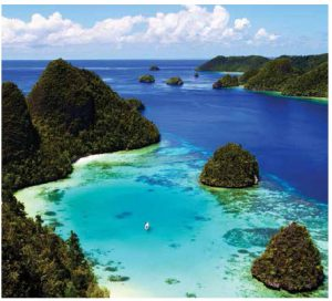 The latest tourist draw for eastern Indonesia is the Raja Ampat in West Papua. Dotted with cones of jungle-covered islands, it is known for its beaches and coral reefs. (Photo: Ministry of Tourism of the Republic of Indonesia)