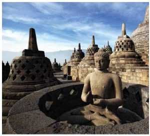 This Buddha statue is one of 72 that sit around the circular platforms of the Borobudur Temple. The temple was built between the 8th and 9th Centuries AD during the Syailendra Dynasty. The Borobudur was listed as a UNESCO World Heritage Site in 1991. (Photo: Ministry of Tourism of the Republic of Indonesia)